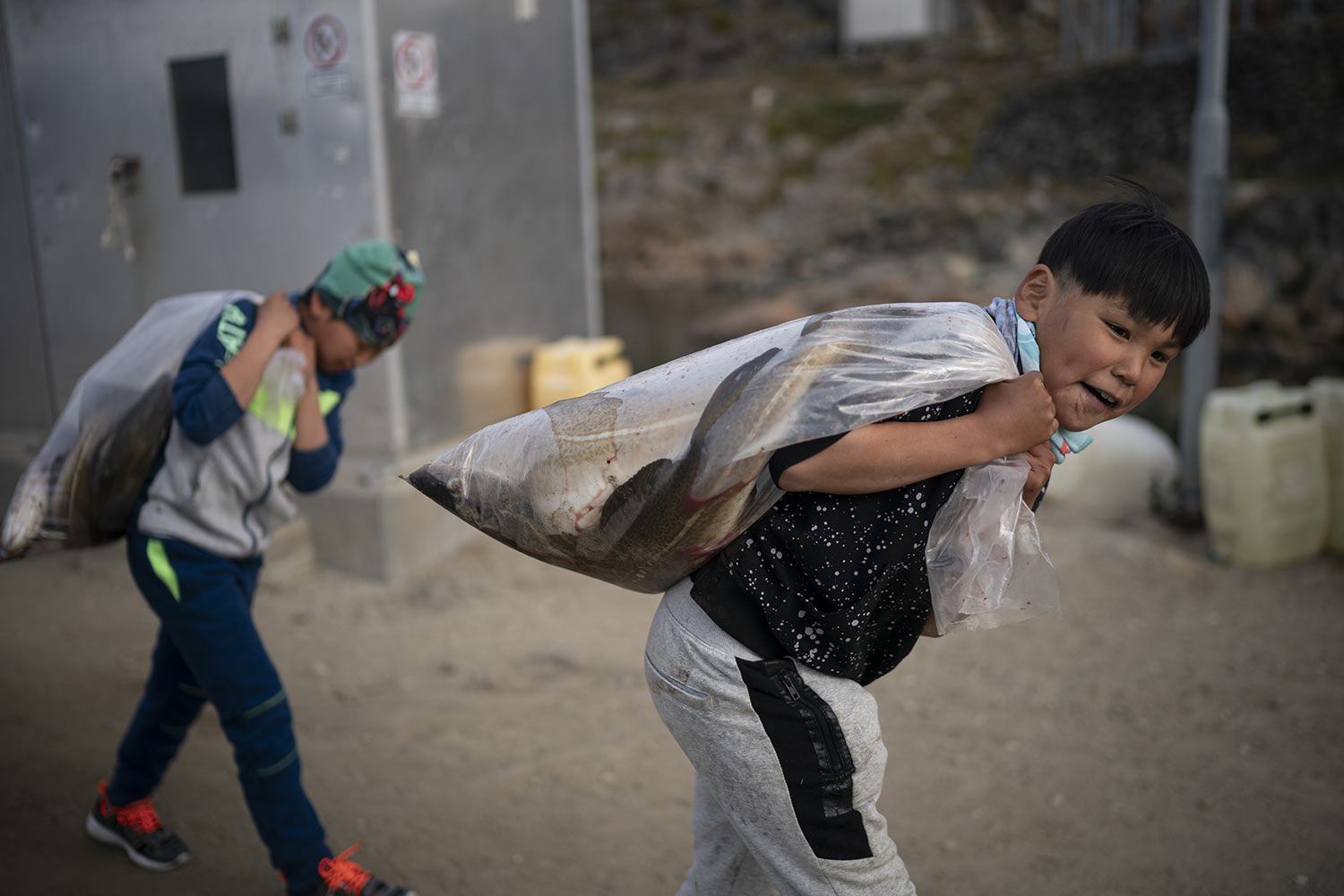 Boys carry plastic bags full of fish on Aug. 15, 2019, in Kulusuk, Greenland. According to local resident Mugu Utuaq, the winter that used to last as long as 10 months when he was a boy can now be as short as five months. Scientists are hard at work in Greenland, trying to understand the alarmingly rapid melting of the ice. (AP Photo/Felipe Dana)