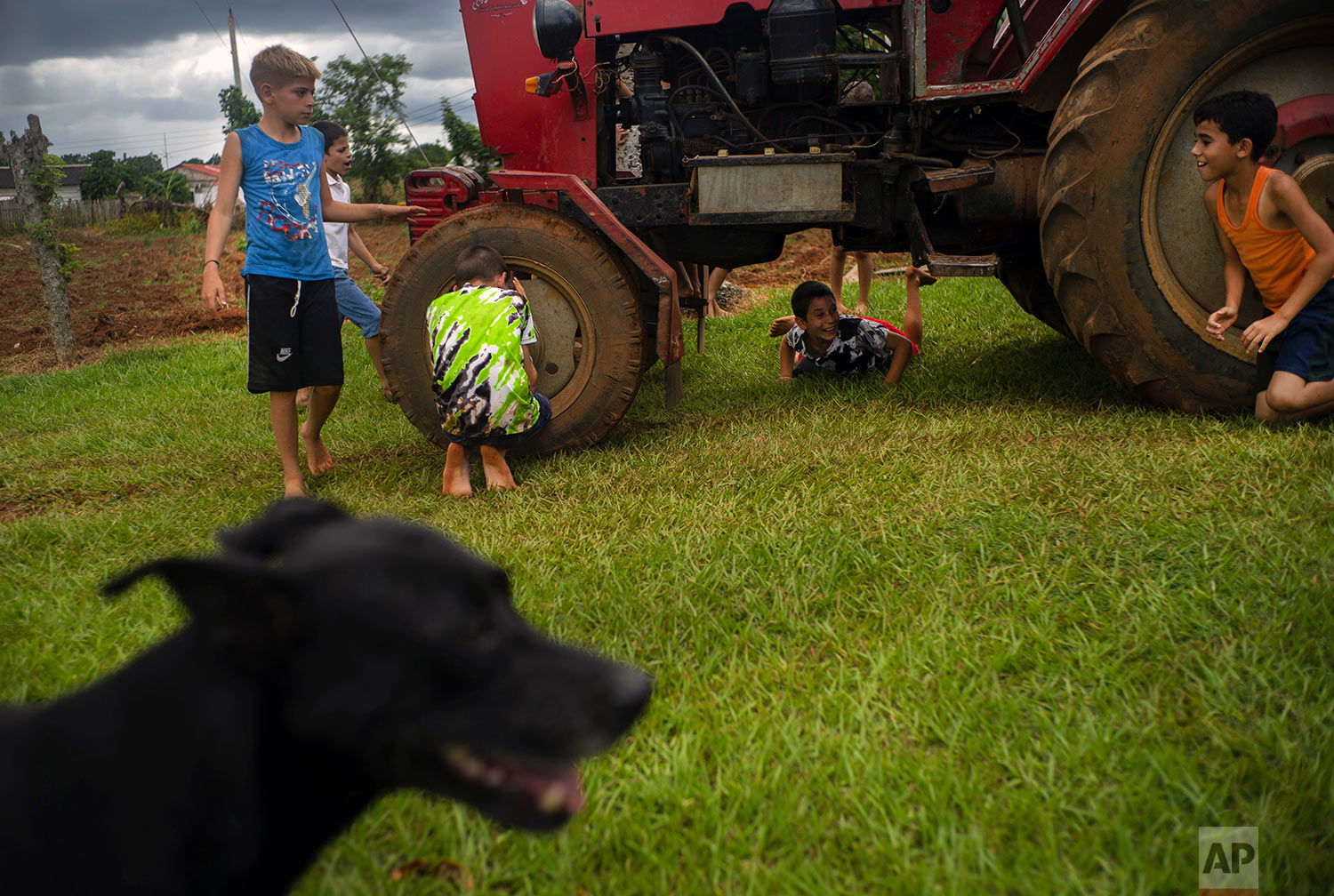 In this Aug. 24, 2019 photo, children play around the tractor that will pull a trailer converted into a swimming pool in El Infernal neighborhood in San Andres in the province of Pinar del Río, Cuba.  (AP Photo/Ramon Espinosa)