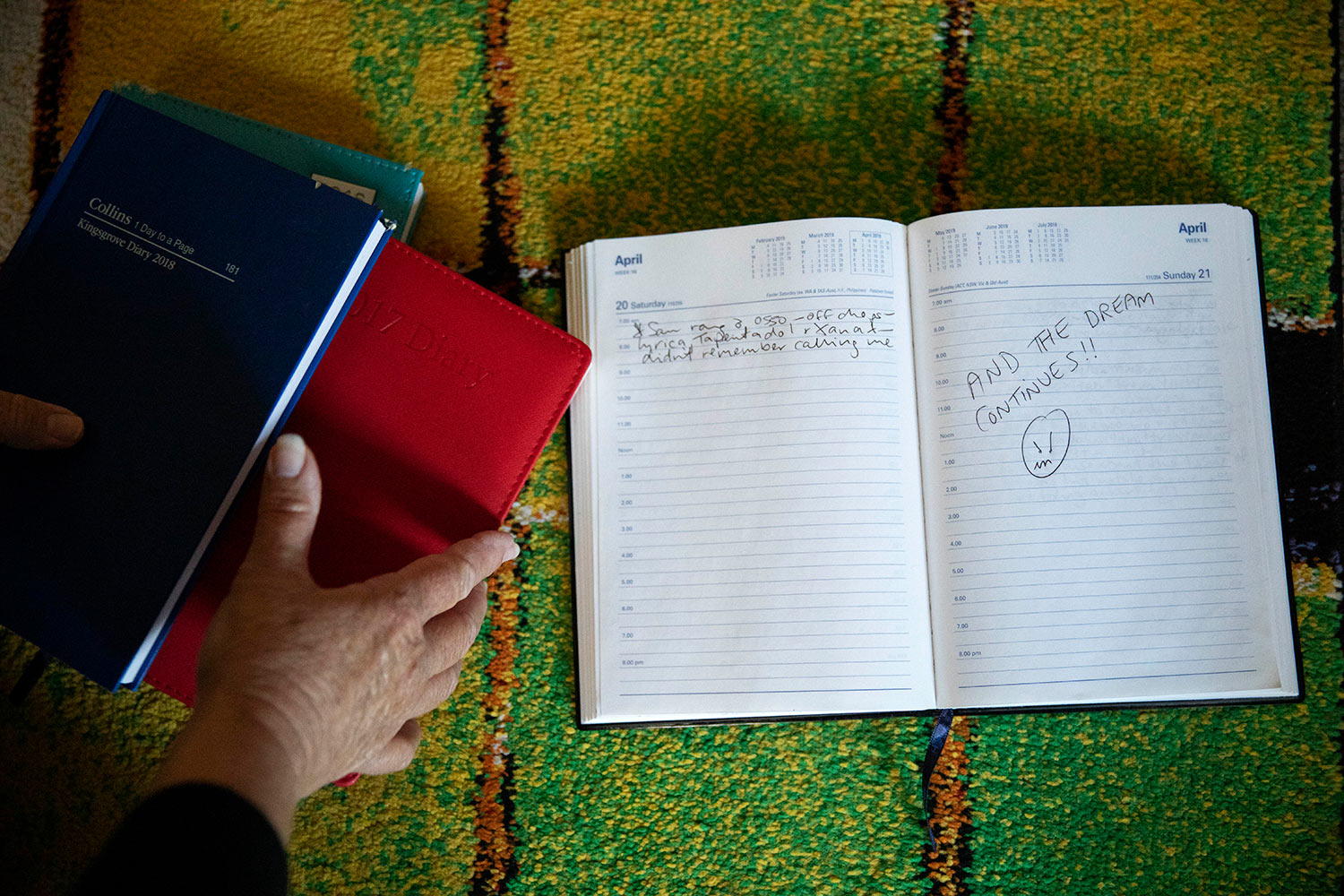 An entry is seen from the diary of Deb Ware in Fountaindale, Central Coast, Australia, Friday, July 19, 2019. (AP Photo/David Goldman)