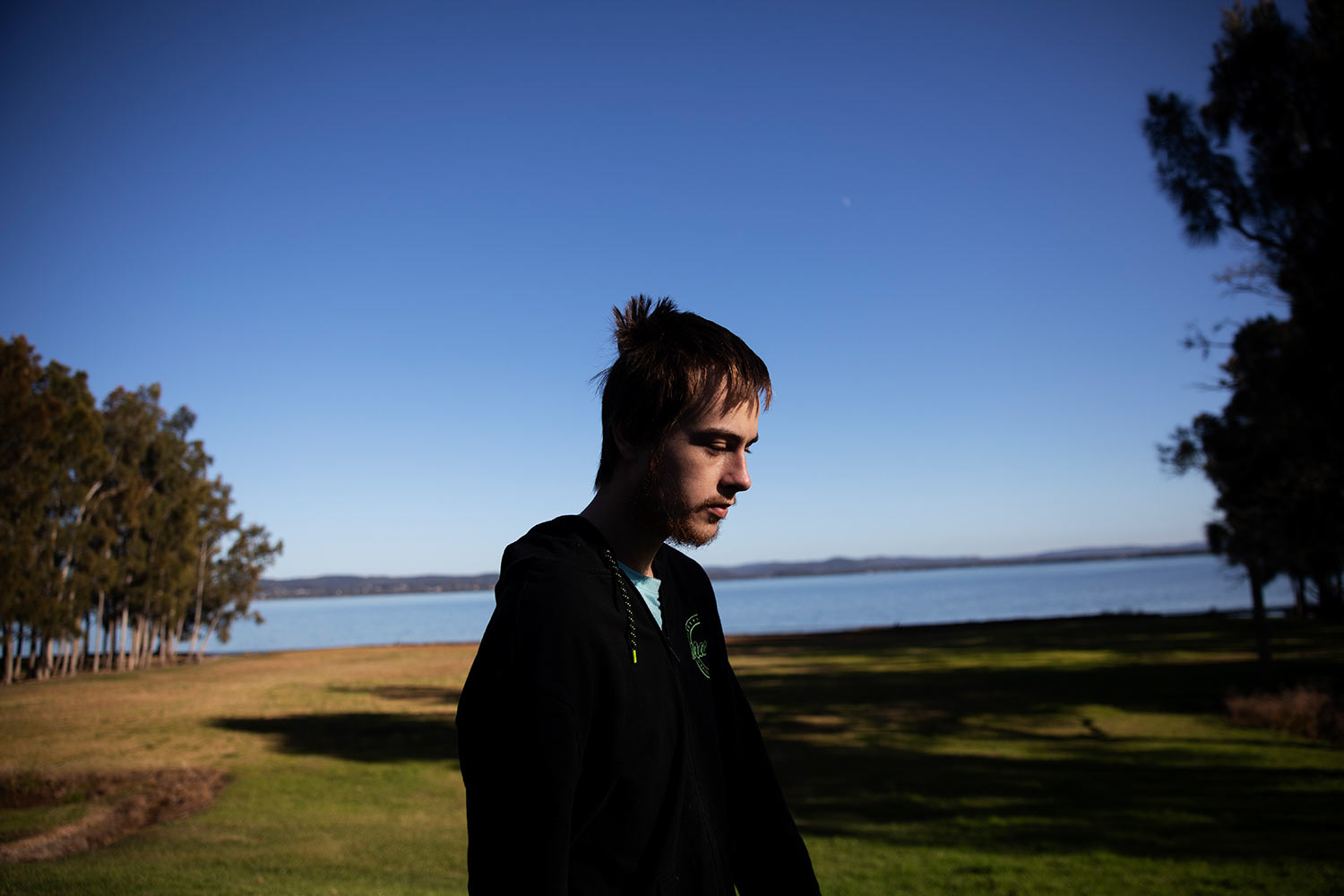 Sam Ware is shown while out on a morning walk from the hostel where he is staying at The Entrance, Central Coast, Australia, Thursday, July 25, 2019. (AP Photo/David Goldman)