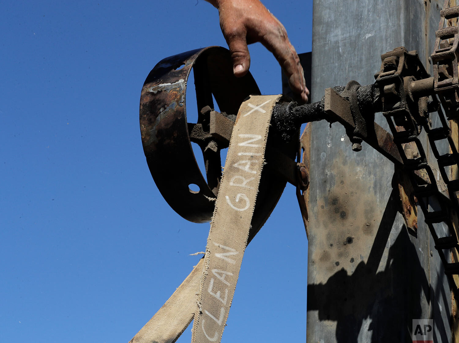 """A belt labeled """"clean grain"""" is adjusted on a stationary grain thresher near Colfax, Wash., Sept. 2, 2019. (AP Photo/Ted S. Warren)"""