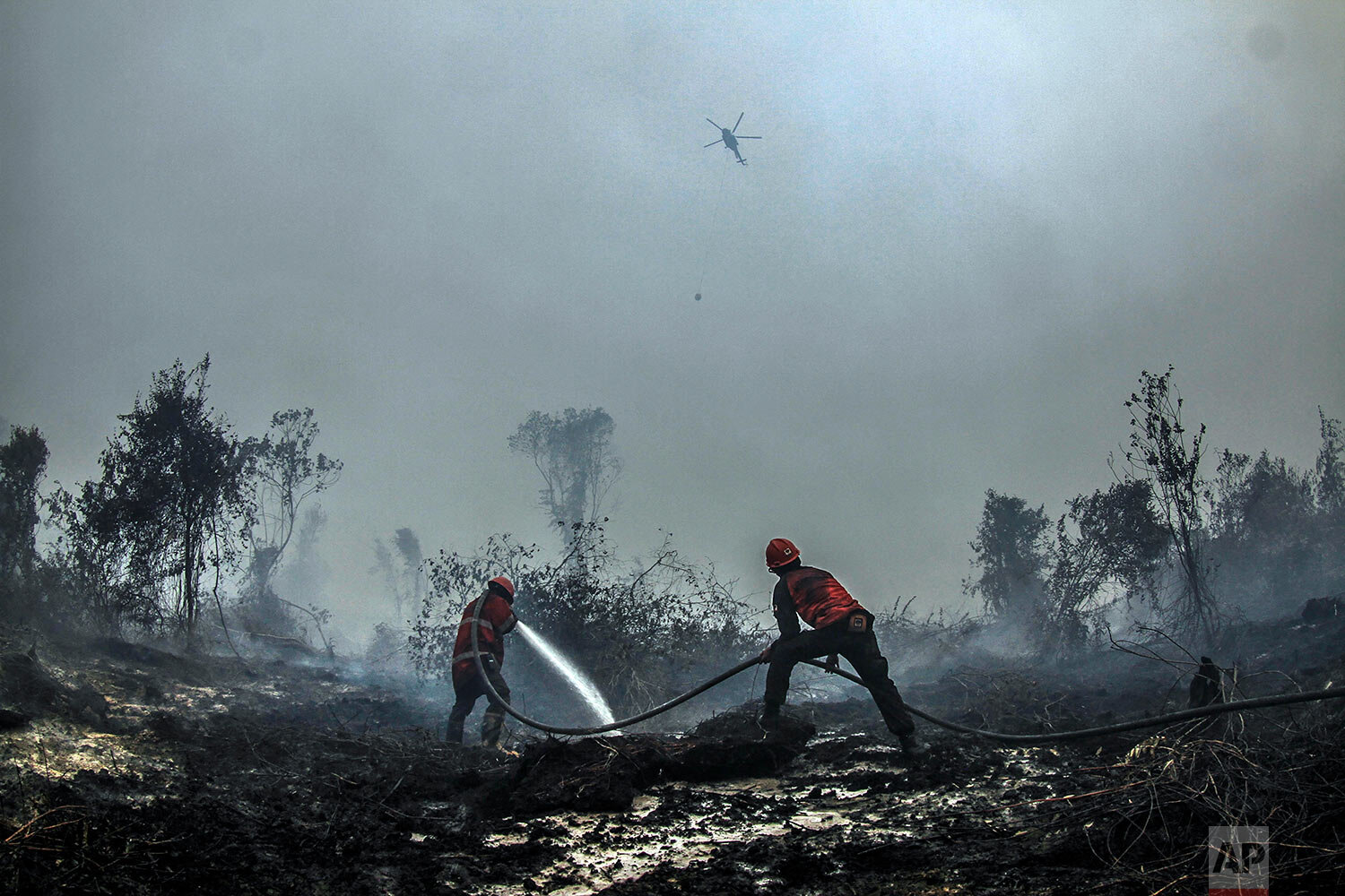 Firefighters spray water on the embers of a forest fire in Kampar, Riau province, Indonesia, Wednesday, Sept. 18, 2019. Fires have razed hundreds of thousands of hectares of land in Sumatra and Borneo island, spreading a thick, noxious haze around Southeast Asia. (AP Photo/Rafka Majjid)
