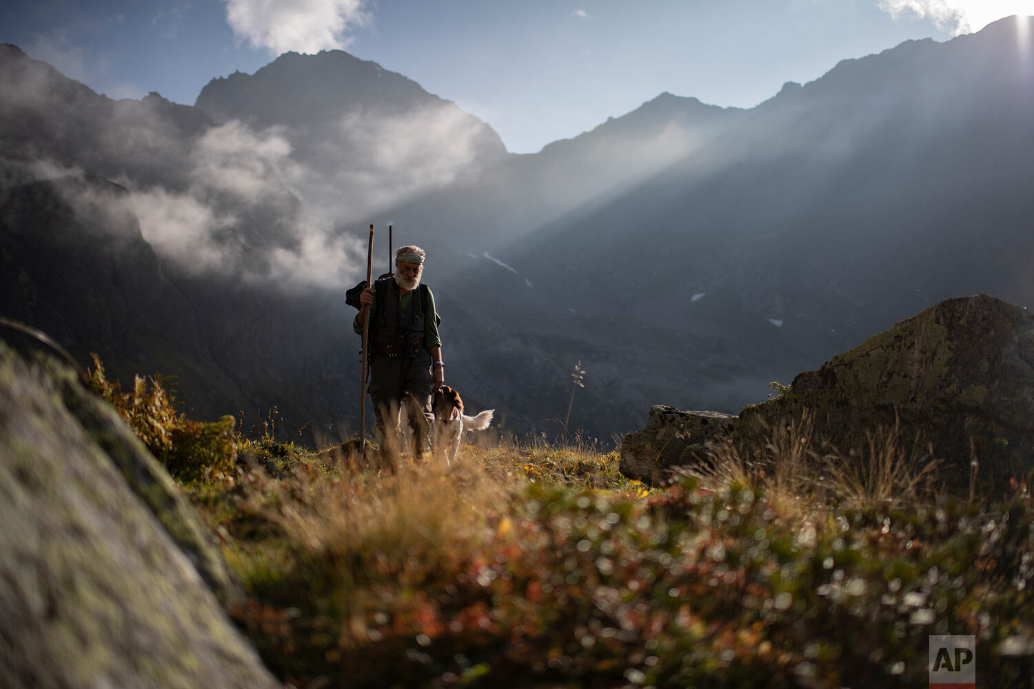 Hunter Peter Marugg and his dog, Fjura, look for chamois, in the second of the three-week-long hunting season in Klosters, Graubuenden, Switzerland, on Thursday, Sept. 19, 2019. The 69-year old said he has been hunting since 1970. Hunting has a long standing tradition in the canton of Graubuenden, with approximately 5,500 practicing. (Gian Ehrenzeller/Keystone via AP)