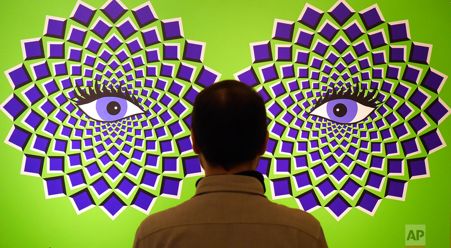"A man stands in front of a optical illusion image during the press preview of the interactive experience exhibition ""Tricked! - The spectacular illusion exhibition"" at Augustusburg castle in Augustusburg, Germany, Tuesday, Oct. 1, 2019. The show, with paintings by Mexican artist Yunuen Esparza, deals with the functioning of the eye, the laws of optics and the interconnection of the senses in the brain. (AP Photo/Jens Meyer)"