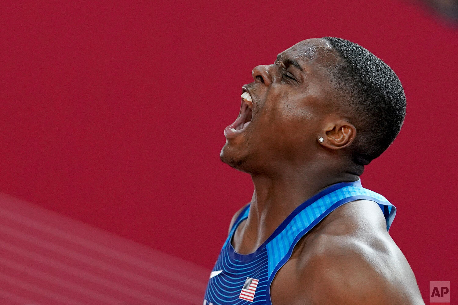 Christian Coleman, of the United States, celebrates after crossing the finish line to win the men's 100 meter during the World Athletics Championships in Doha, Qatar, Saturday, Sept. 28, 2019.(AP Photo/David J. Phillip)