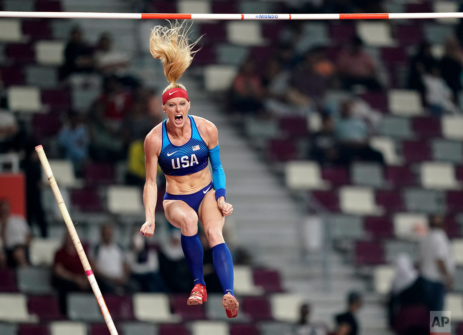 Sandi Morris, of the United States, competes in the women's pole vault final at the World Athletics Championships in Doha, Qatar, Sunday, Sept. 29, 2019. (AP Photo/David J. Phillip)