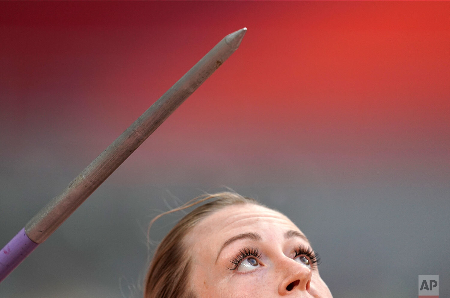 Elizabeth Gleadle, of Canada, competes in the women's javelin throw at the World Athletics Championships in Doha, Qatar, Monday, Sept. 30, 2019. (AP Photo/David J. Phillip)