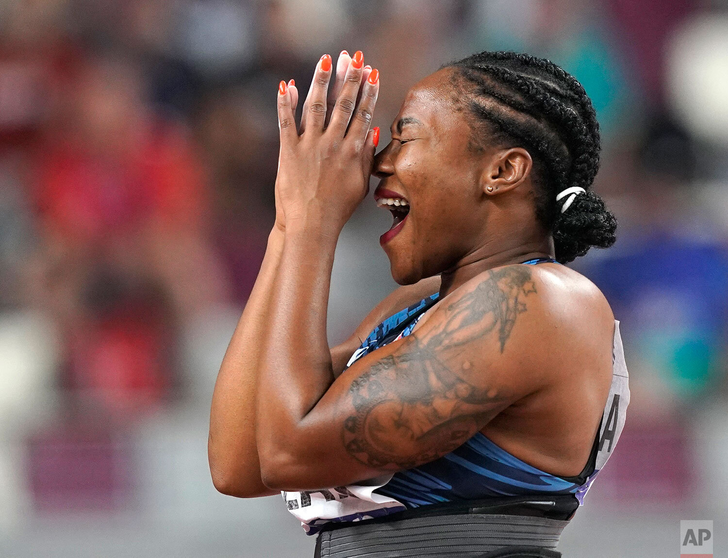 Alexie Alaïs, of France, reacts after competing in the women's javelin throw at the World Athletics Championships in Doha, Qatar, Monday, Sept. 30, 2019. (AP Photo/David J. Phillip)