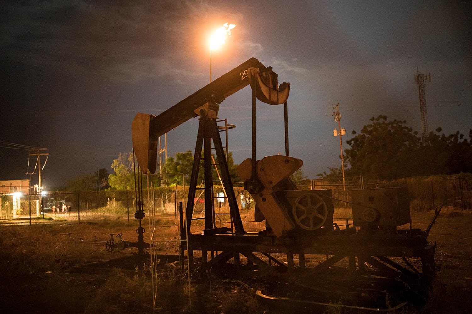 A non-operational oil pump, owned by state-owned oil company PDVSA, stands still in Cabimas, Venezuela, May 16, 2019. (AP Photo/Rodrigo Abd)
