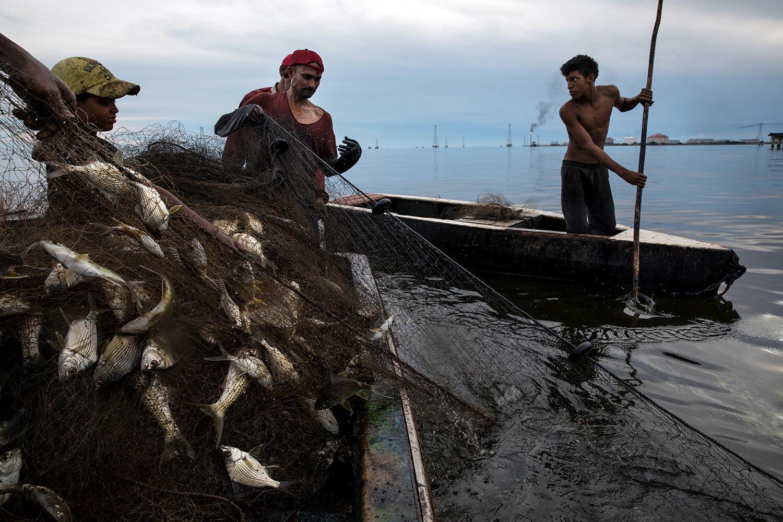 Fishermen use an oil-blackened net to pull up their catch near La Salina crude oil shipping terminal, behind, on Lake Maracaibo near Cabimas, Venezuela, May 24, 2019. (AP Photo/Rodrigo Abd)