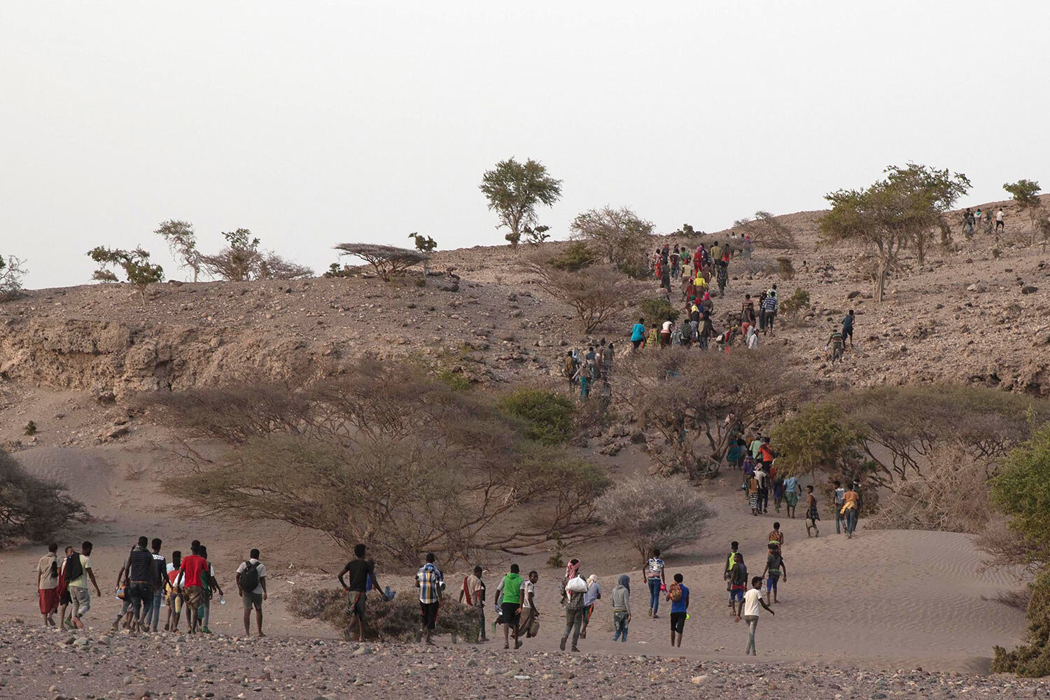 Ethiopian migrants are led by a smuggler to a disembarking point on the uninhabited coast outside the town of Obock, Djibouti, on the shore closest to Yemen. (AP Photo/Nariman El-Mofty)