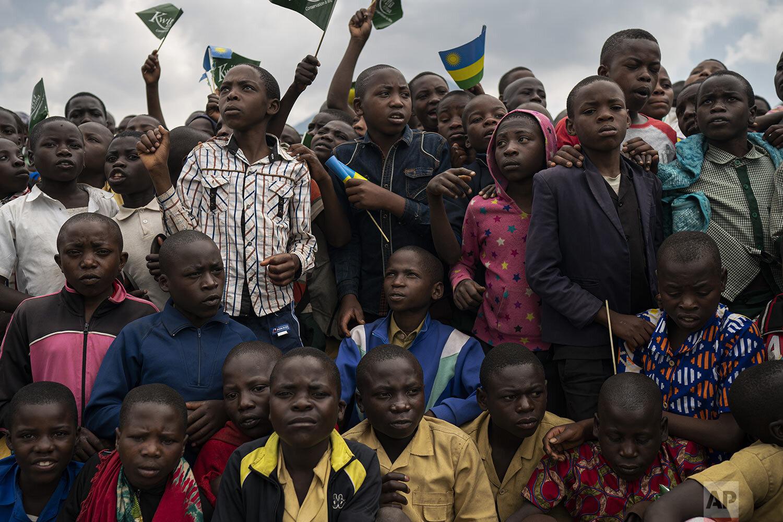Children gather at the gorilla naming ceremony in Kinigi, Rwanda. (AP Photo/Felipe Dana)