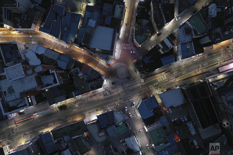 An aerial view of empty main roads is seen in Daegu, South Korea, Monday, Feb. 24, 2020. (Kim Hyun-tae/Yonhap via AP)