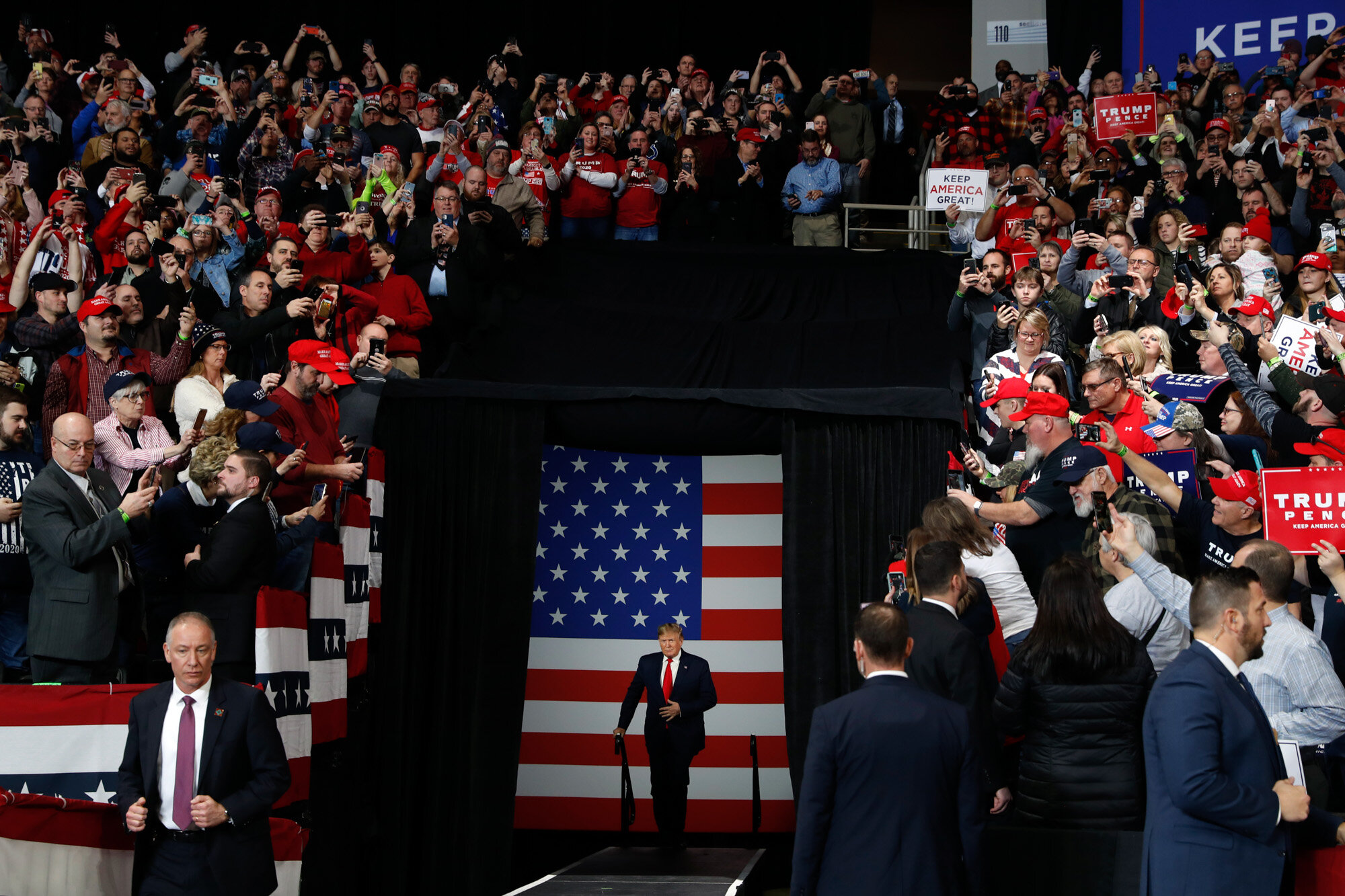 President Donald Trump arrives at a campaign rally in Toledo, Ohio, on Jan. 9, 2020. (AP Photo/Jacquelyn Martin)