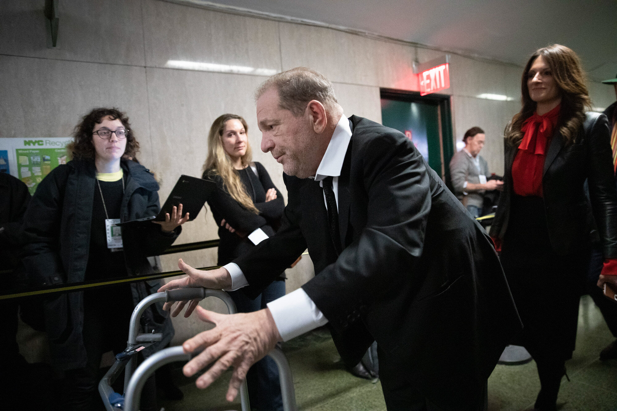 Hollywood film producer Harvey Weinstein leaves court in New York on Jan. 10, 2020,  after attending jury selection for his sexual assault trial. (AP Photo/Mark Lennihan)
