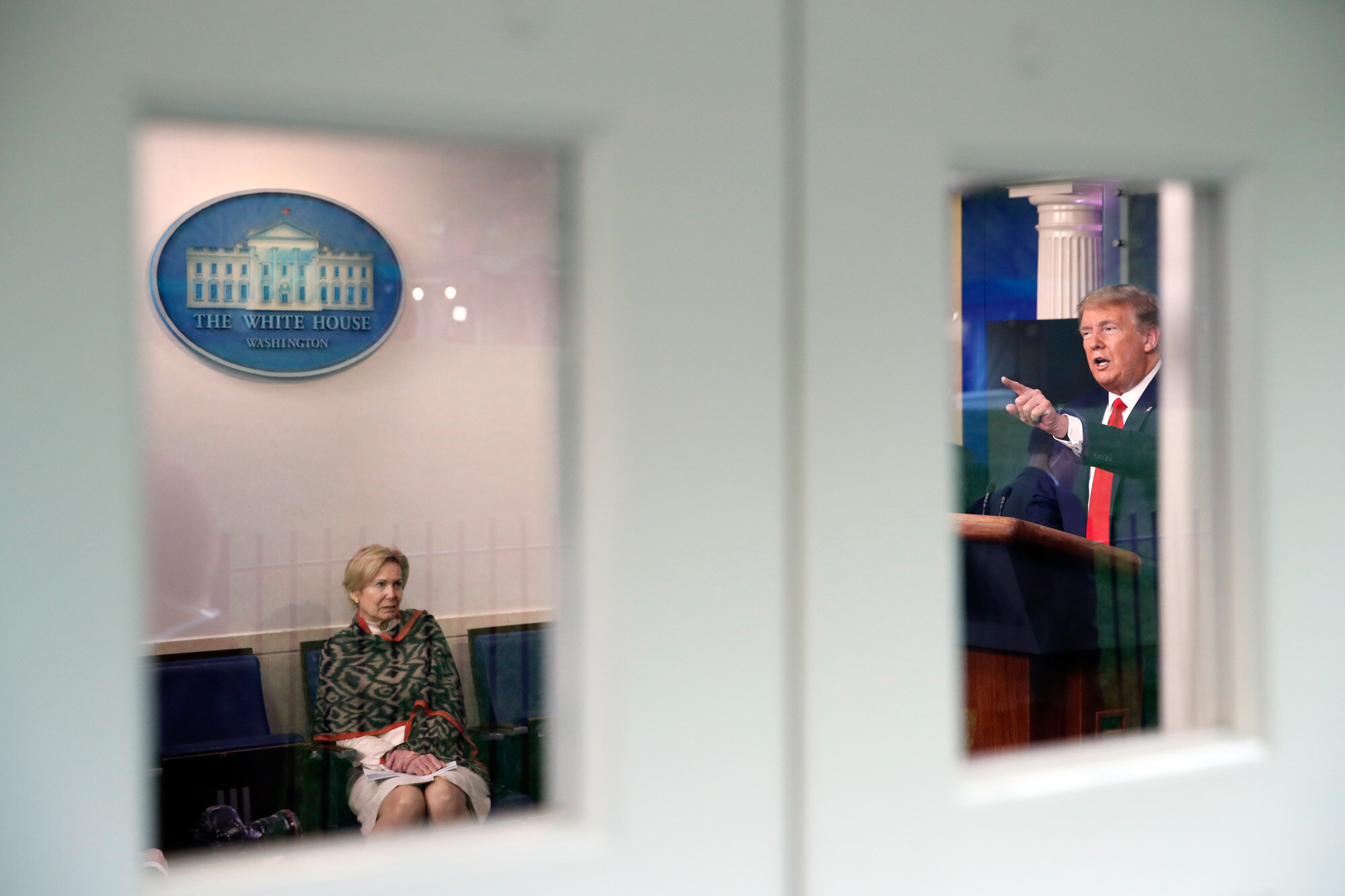 President Donald Trump holds a press conference about the coronavirus at the White House in Washington on April 13, 2020. At left is Dr. Deborah Birx, White House coronavirus response coordinator. (AP Photo/Alex Brandon)
