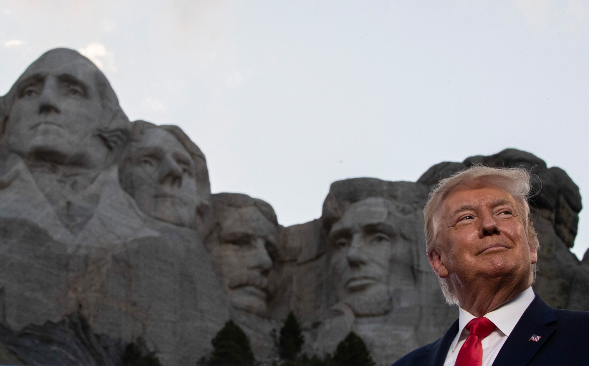 President Donald Trump smiles during a visit to Mount Rushmore National Memorial near Keystone, S.D., on July 3, 2020. (AP Photo/Alex Brandon)