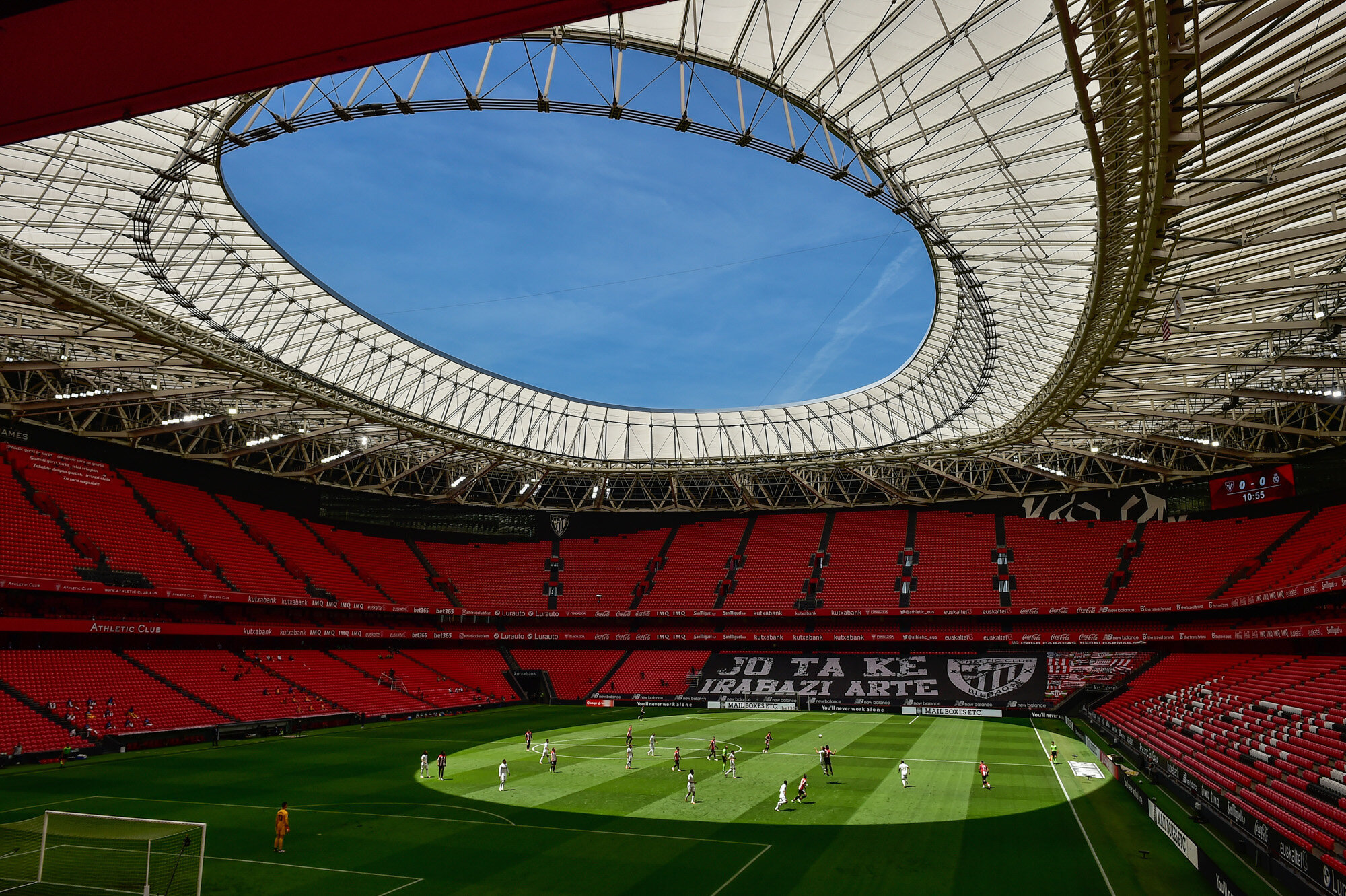 Athletic Club and Real Madrid play during their Spanish La Liga soccer match at the San Manes stadium, which is nearly empty, in Bilbao, Spain, on July 5, 2020. (AP Photo/Alvaro Barrientos)