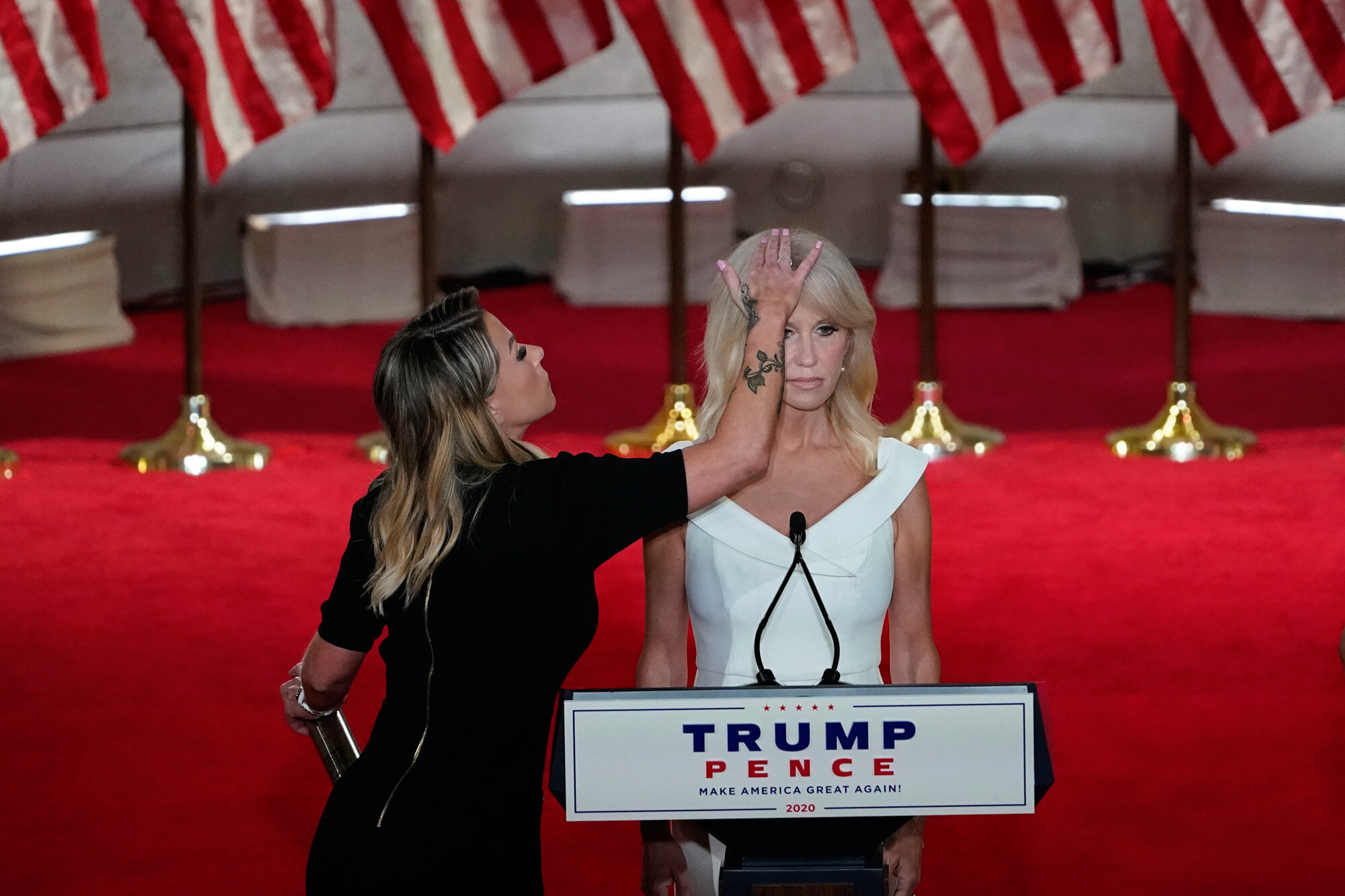 White House counselor Kellyanne Conway prepares to tape her speech for the third day of the Republican National Convention in Washington on Aug. 26, 2020. (AP Photo/Susan Walsh)