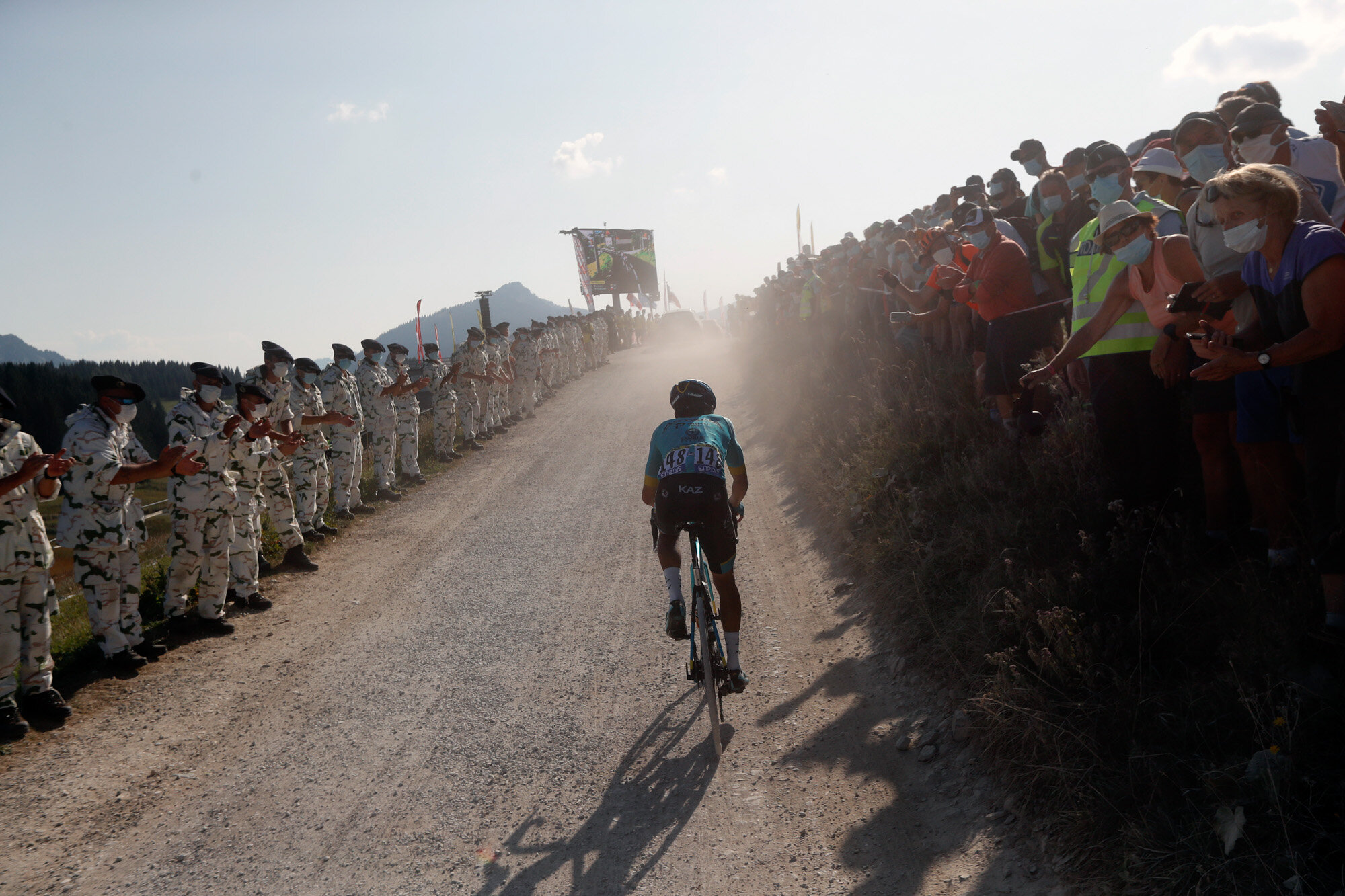 Colombia's Harold Tejada climbs Plateau des Glieres during the stage 18 of the Tour de France cycling race over 175 kilometers (108.7 miles) from Meribel to La Roche-sur-Foron, France, on Sept. 17, 2020. (AP Photo/Thibault Camus)