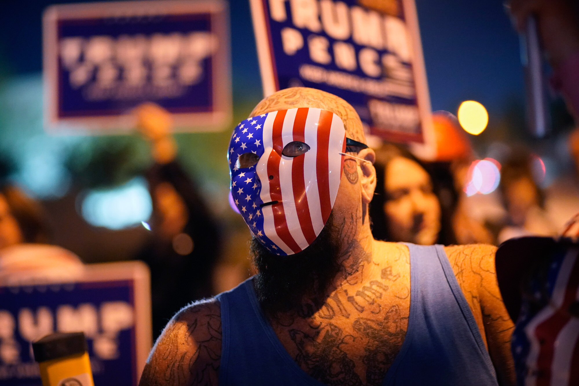 Supporters of President Donald Trump protest the Nevada vote in front of the Clark County Election Department in Las Vegas on Nov. 4, 2020. (AP Photo/John Locher)