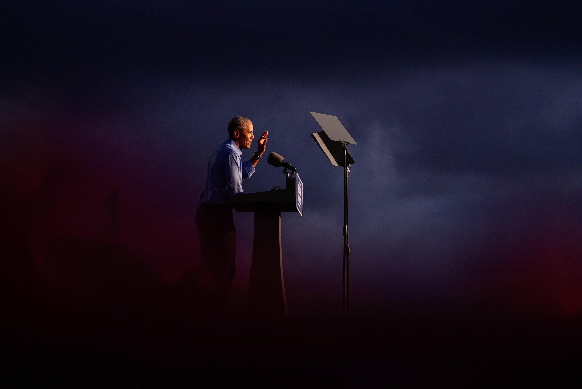 Former President Barack Obama speaks at Citizens Bank Park in Philadelphia as he campaigns for Democratic presidential candidate former Vice President Joe Biden on Oct. 21, 2020. (AP Photo/ Matt Slocum)