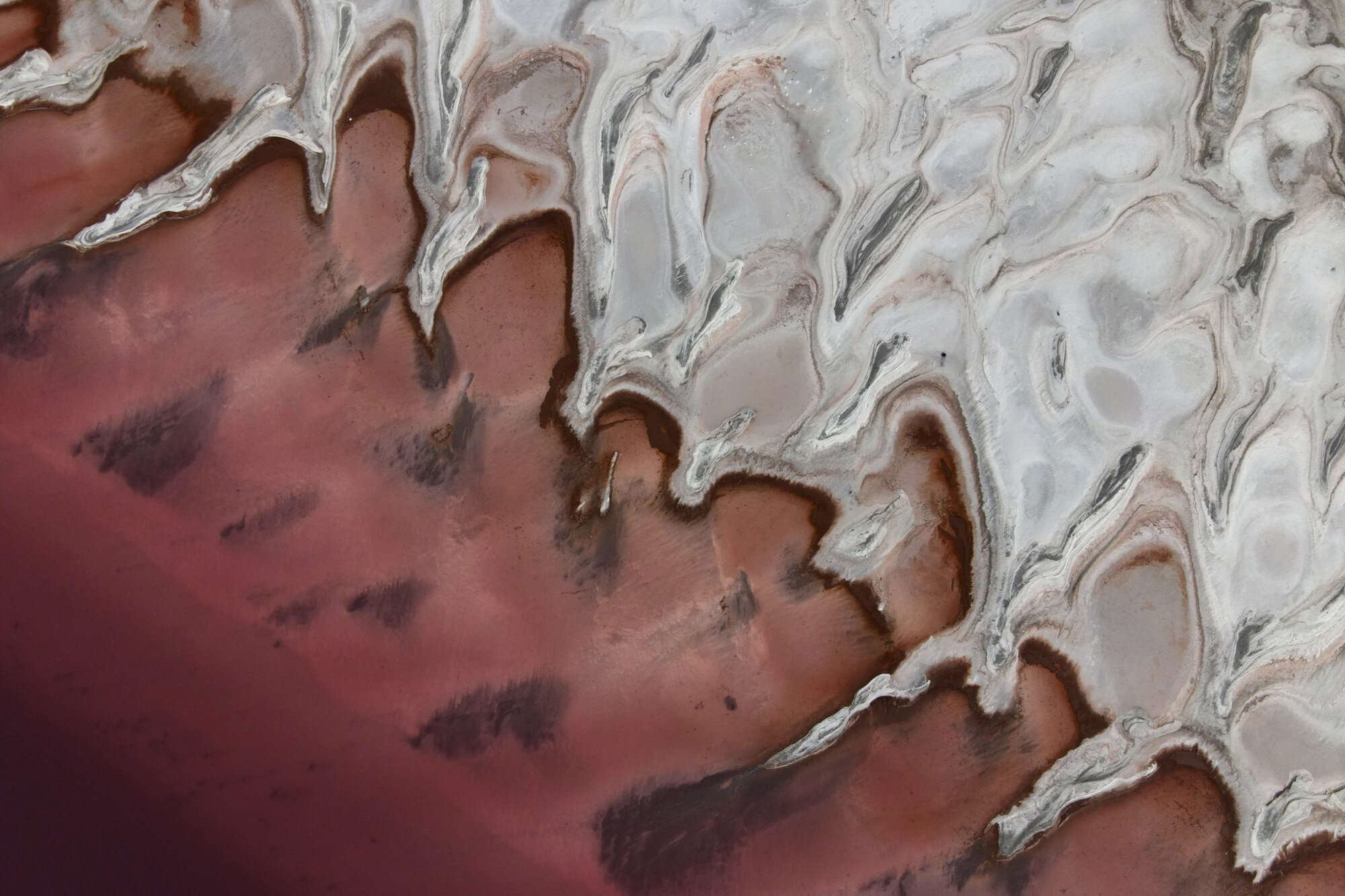 This image shot from a drone shows a reddish tint along the shore of the Great Salt Lake in Howell, Utah, on Oct. 8, 2020. The red hue of the north arm of the lake comes from a type of bacteria, known as halophilic bacteria, that flourishes when the salt level rises. (AP Photo/Julio Cortez)