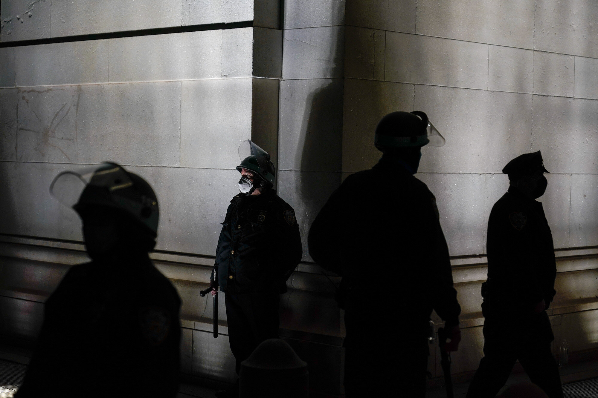 New York Police officers block off the north entrance to Washington Square Park after facing off with protestors, on Nov. 4, 2020, in New York, the day after the U.S. general election.  (AP Photo/Seth Wenig)