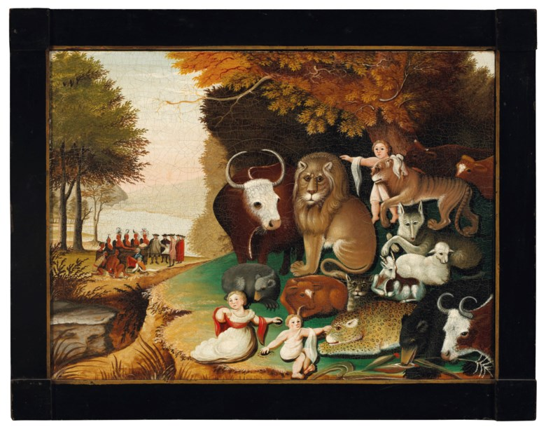 Edward Hicks, Peaceable Kingdom, Christie's. Sold for $1,692,500 on 17-18 January 2019 at Christie's in New York.