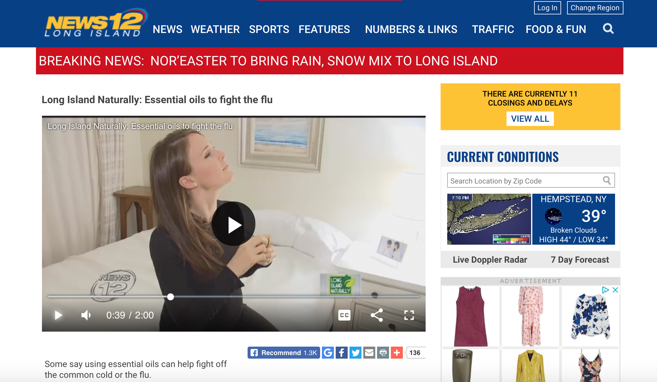 News 12 LI/ Long Island Naturally - Essential Oils to Fight the Flu. February 2018