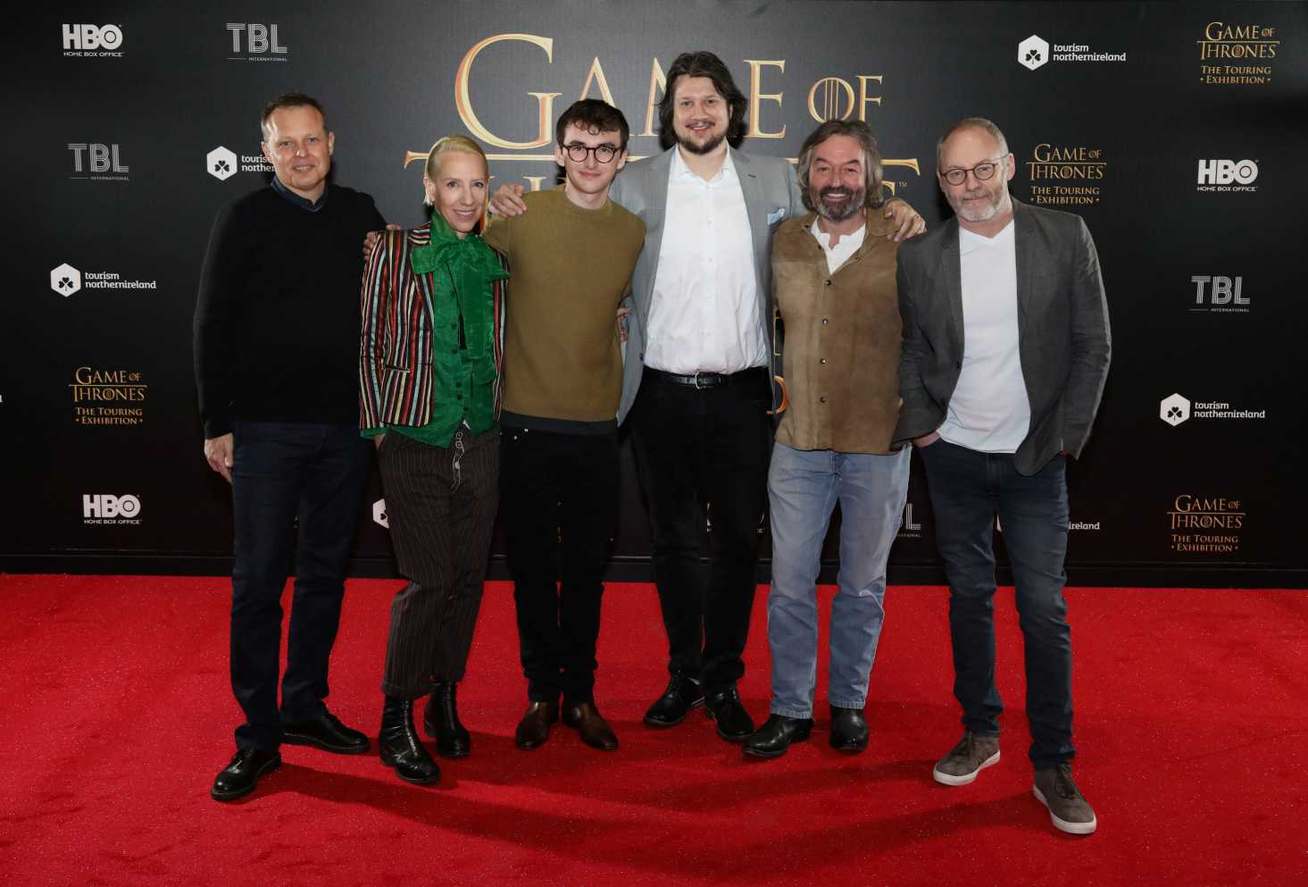 (L-R) Robin Stapley (GES), Michele Clapton (Game of Thrones costume designer), Isaac Hempstead Wright (Game of Thrones – Bran Stark), Jeff Peters (HBO), Ian Beattie (Game of Thrones – Ser Mervyn Trant), Liam Cunningham (Game of Thrones – Davos Seaworth)