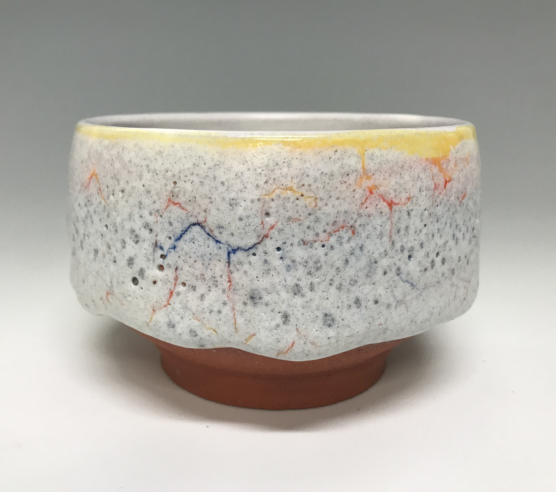 Majolica Chawan (teabowl), 2019, terra cotta, 4.5 x 4.5 x 3.5 inches