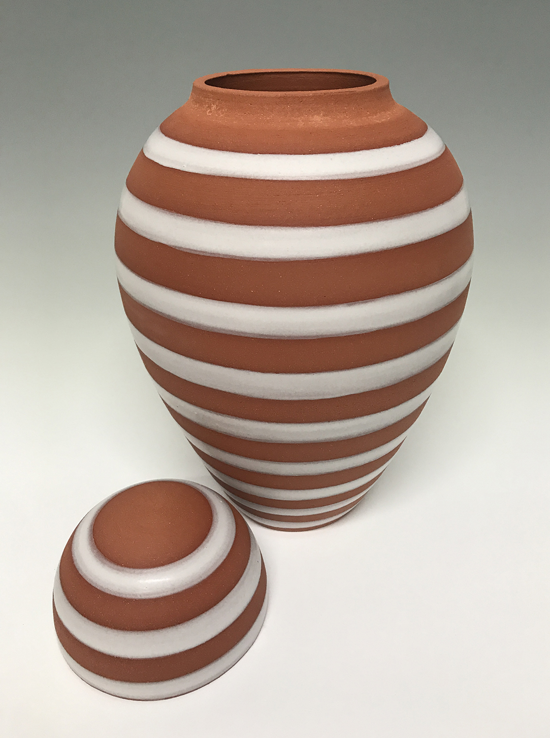 Urn with Stonehenge Glaze, 2019, terra cotta, 8.5 x 8.5 x 14 inches