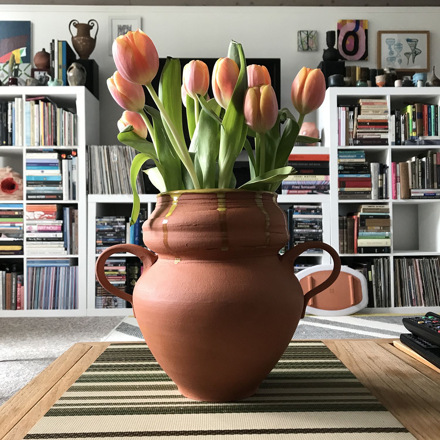 Yellow Lined Terra Cotta Vase, 2019, 9.5 x 7 x 10 inches