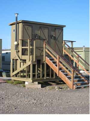 """The Toolik """"towers,"""" aka outhouses are stationed at three points around the station."""
