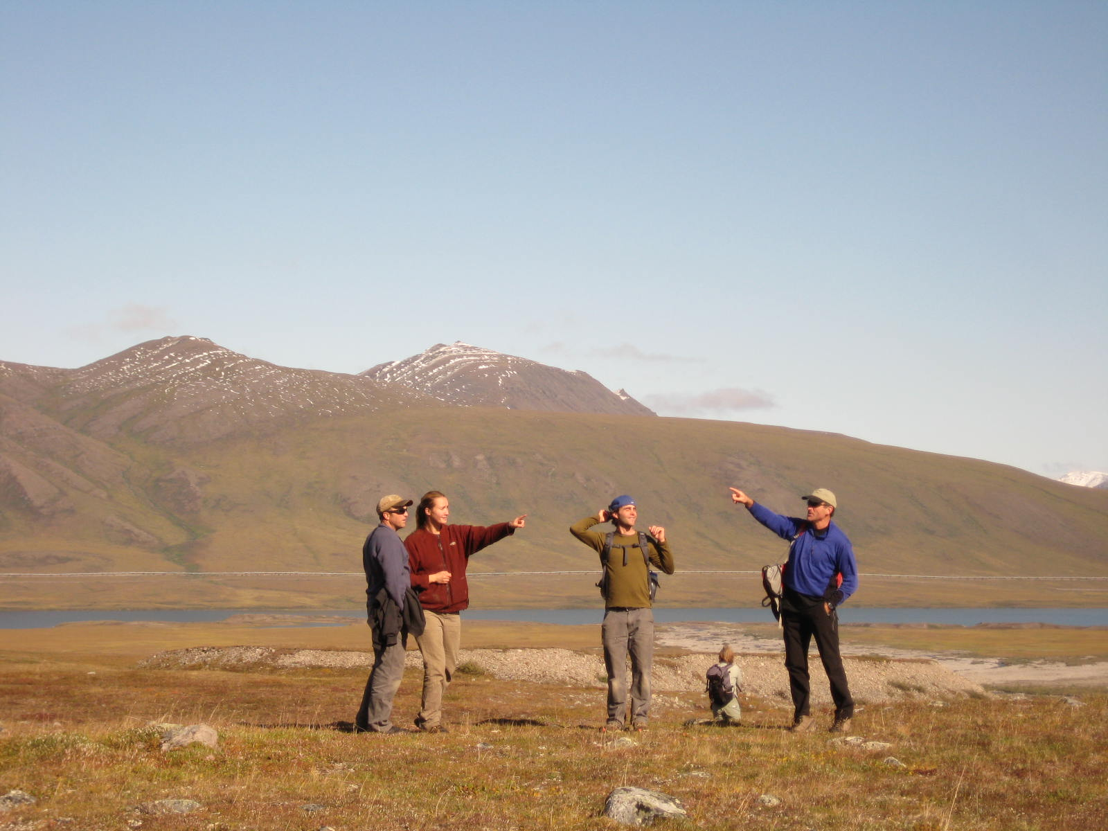 Polar Field Service staffers Jason Neely, Annalisa Neely, Zach Flowers, and Larry Gullingsrud can't figure out which way is up.