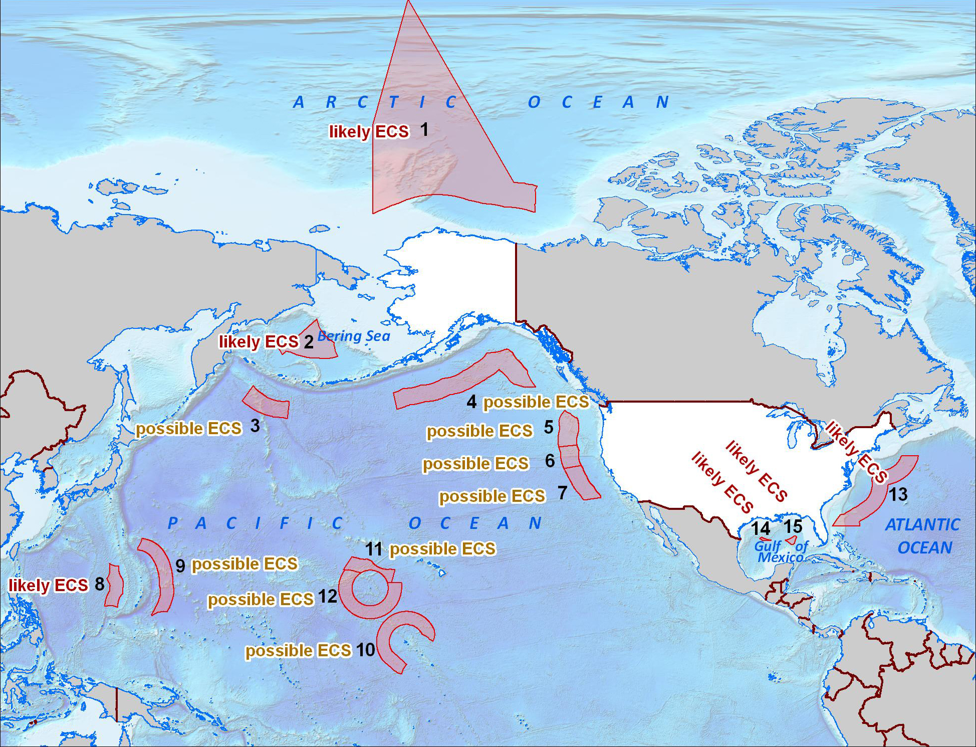 The shaded area on this map illustrates where the U.S. is considering collecting and analyzing data and does not represent the official U.S. Government position on where it has extended continental shelf. This map is without prejudice to boundary depictions and future negotiations. Credit: continentalshelf.gov