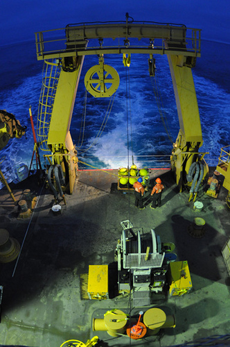 A bottom-moored autonomous acoustic recorder, known as a High-frequency Acoustic Recording Package (HARP), is rigged to be deployed from the Coast Guard Cutter Healy in the Arctic Ocean where it will spend almost a year at the ocean floor measuring ambient noise. Photo: U.S. Coast Guard petty officer Patrick Kelley