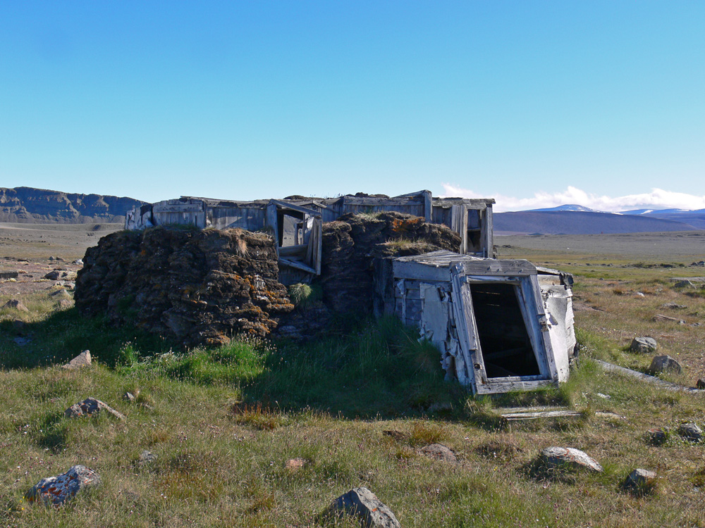 Sod house in the summer