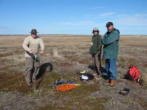 John Darwent, Jennifer Bencze, John Hoffecker at the dig site