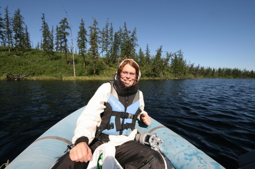 Jorien Vonk on Shuchi Lake in Russia. Vonk is a biogeochemist whose research has taken her to many remote regions of the Arctic. Photo: Jorien Vonk
