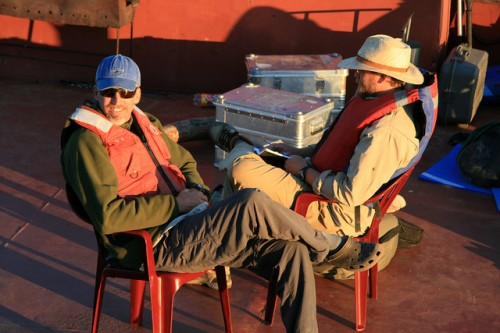 Polaris Project PIs Max Holmes (left) and John Schade (right) take a break to enjoy the sunset. Photo: Jorien Vonk
