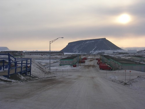 Dundas, the mesa in the distance, looms over Hangars 1 and 2, the original hangars adjacent to the original Thule airstrip.