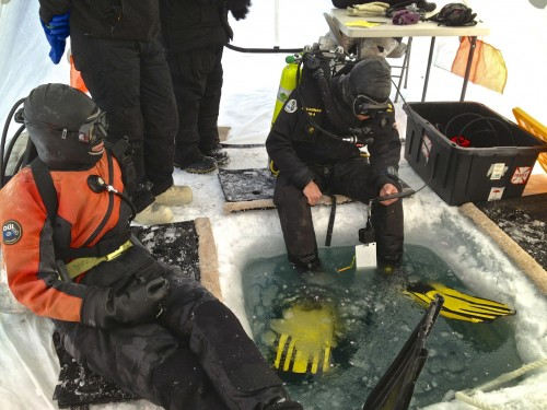 USAP diver Rob Robbins gets ready to drop in from the ice. All images courtesy Rob Robbins.