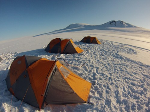 The team's temporary home and shelter from the harsh conditions in the Brooks Range. Photo: Jason Briner