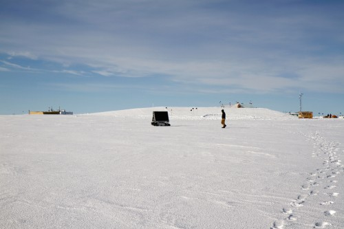 GROVER on June 3, 2013 while being controlled from Idaho. After a month of testing and adapting the electronics for the cold weather, the rover was ready for long-distance control via satellite link. All photos: courtesy NASA