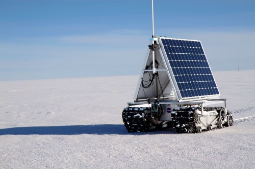 GROVER on the move during a sustained test of the power consumption on June 2, 2013. The rover was sent a list of coordinates in a big circle outside of Summit and it went around the loop three times, hitting all of the waypoints.