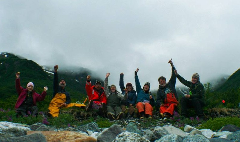 Exciting news! NSF-funded researchers at Woogaani ye (Aron Crowell, Smithsonian Institution, PI). Disenchantment Bay, 2013. Photo by Emily Silber using camera self-timer. — in Yakutat, AK