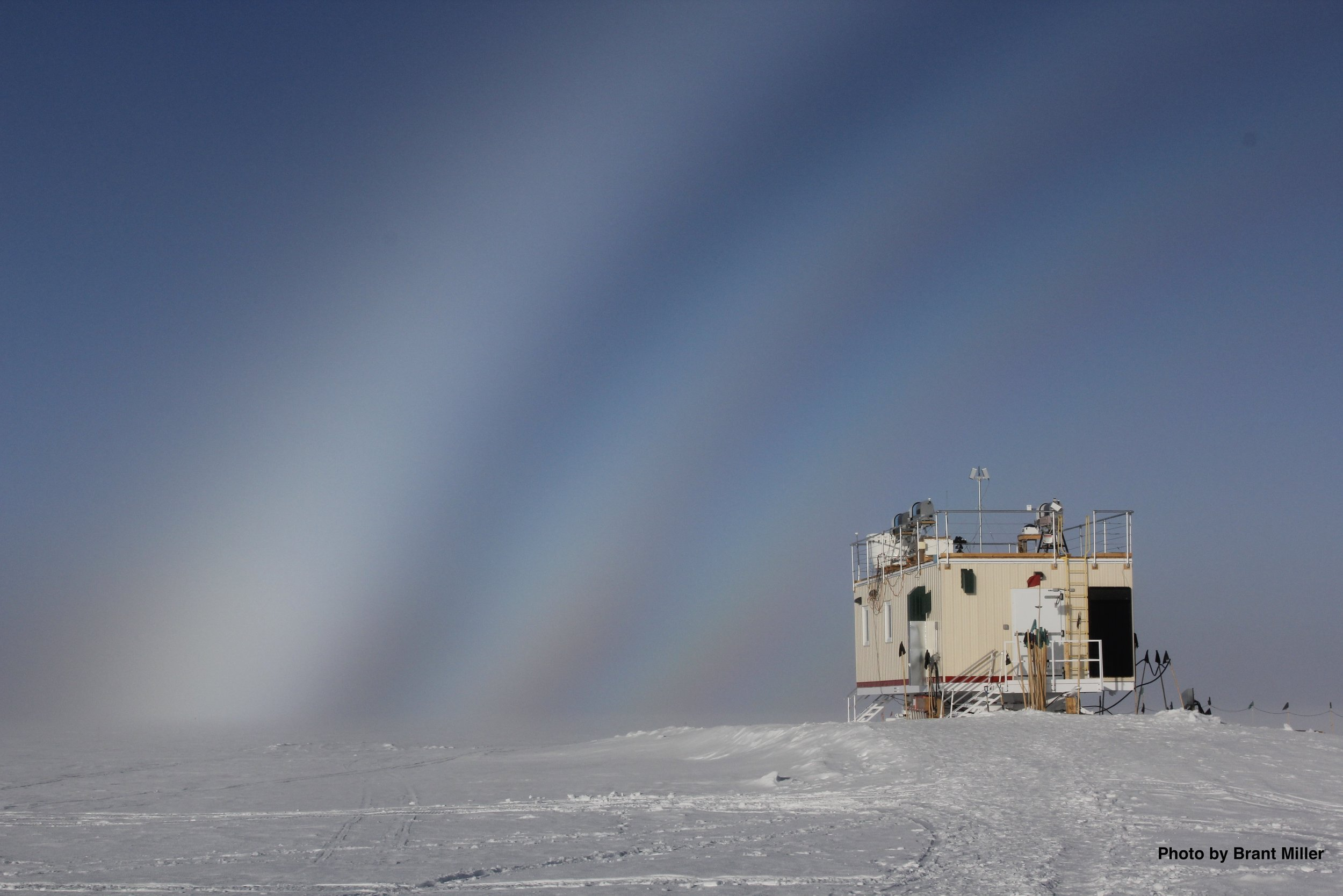 Fog bow over the Mobile Science Facility at Summit Station, Greenland  (July 2012). Photo: Dr. Brant Miller, University of Idaho