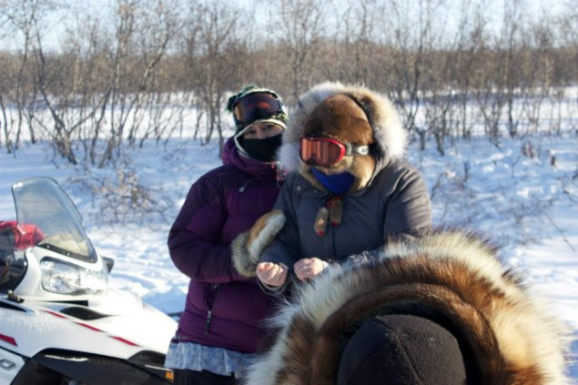 lga Ulturgasheva and Stacy Rasmus are bundled up to brave the -40F temperatures as the prepare to travel to Alakanuk, Alaska to interview research participants. Photo: Stacy Rasmus